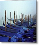 Gondolas In Venice In The Morning Metal Print