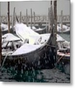 Gondolas In Venice In The Snow Metal Print
