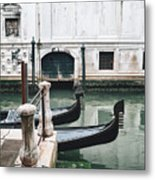 Gondolas On A Canal In Venice, Italy Metal Print