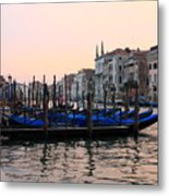 Gondolas On The Grand Canal In Venice In The Morning Metal Print