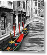 Gondolas On Venice. Black And White Pictures With Colour Detail  Metal Print
