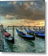 Gondolas Parked For The Evening Metal Print