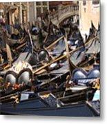 Gondolas Parked In Venice II Metal Print