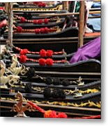 Gondolas Parked In Venice Metal Print