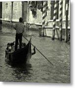 Gondolier In Venice   Metal Print