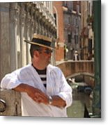 Gondolier In Venice Waiting For A Fare Metal Print