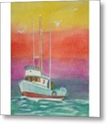 Gone Fishing At Midnight  Metal Print