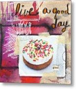 Good Day Donut- Art By Linda Woods Metal Print