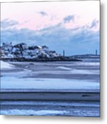 Good Harbor Beach And Thacher Island Covered In Snow Gloucester Ma Metal Print
