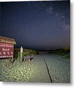 Good Harbor Beach Sign Under The Stars And Milky Way Metal Print
