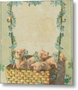 Good Luck Basket With Pigs Metal Print