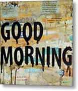 Good Morning Coffee Collage 9x12 Metal Print