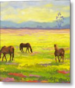 Good Morning Horses Metal Print