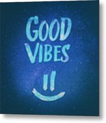 Good Vibes  Funny Smiley Statement Happy Face Blue Stars Edit Metal Print