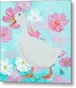 Goose On Floral Background Metal Print