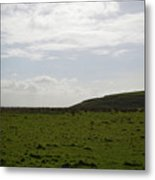 Gorgeous Grass Field With Clouds In Ireland Metal Print