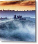Gorgeous Tuscany Landcape At Sunrise Metal Print