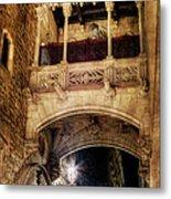 Gothic Bridge At Night In Barcelona 2 Metal Print