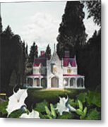 Gothic Country House Detail From Night Bridge Metal Print