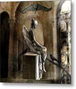 Gothic Surreal Angel With Gargoyles And Ravens  Metal Print