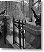 Surreal Gothic Gargoyle With Raven Black And White Gothic Gargoyles Gate Scene Metal Print