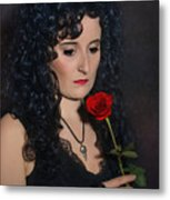 Gothic Woman With Rose Metal Print