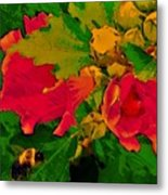 Gouache Painting Flower And Bumble Bee Metal Print