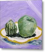Gourd And Green Apple On Haviland Metal Print