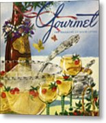 Gourmet Cover Featuring A Bowl And Glasses Metal Print