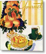Gourmet Cover Featuring A Centerpiece Of Peaches Metal Print