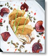Gourmet Fish Fillet With Chickpea Curry Puree Meal Metal Print