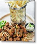 Gourmet Fried Octopus Calamari Style Set Meal With Fries Metal Print