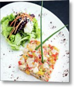 Gourmet Raw Tuna Tartare Ceviche With Mango Lime And Chilli Metal Print