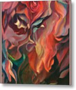 Grace And Desire - Floral Abstract With Border And Title Metal Print