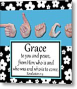 Grace - Bw Graphic Metal Print