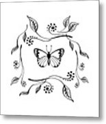 Graceful Butterfly Baby Room Decor Iv Metal Print