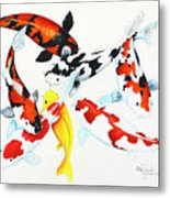 Graceful Koi Metal Print