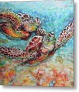 Sea Turtle Buddies Metal Print
