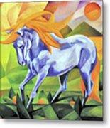 Graceful Stallion With Flaming Mane Metal Print