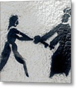 Graffiti Art In Black And White Along Streets Of Valparaiso-chile Metal Print