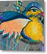 Graffiti Art Of A Colorful Bird Along Street IIn Hilly Valparaiso-chile Metal Print