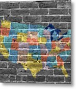 Graffiti  Map Of The United States Of America Metal Print