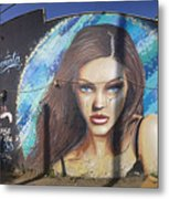 Graffiti Street Art Mural Around Melrose Avenue In Los Angeles, California  Metal Print