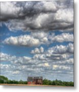 Grain Barn And Barley Field Metal Print