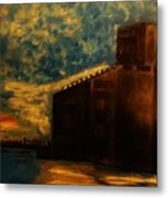 Grain Elevator On Lake Erie From A Photo By Nicole Bulger Metal Print by Marie Bulger