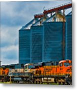 Grain Silos And Bnsf Train Metal Print
