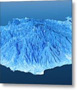 Gran Canaria Topographic Map 3d Landscape View Blue Color Metal Print
