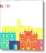 Granada Skyline Pop Metal Print