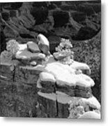 Grand Canyon Snow Black And White Photo Metal Print