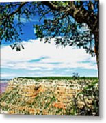 Grand Canyon View From South Rim Overlook Metal Print